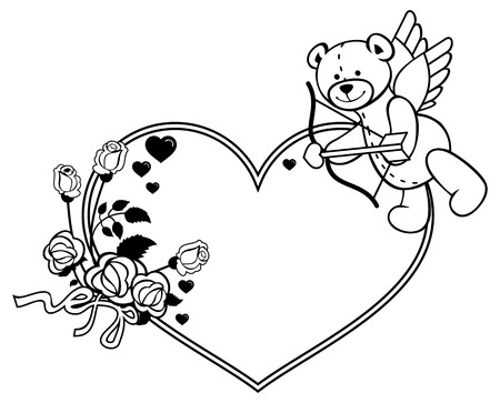 heartshaped: Heart-shaped frame with outline roses and teddy bear with bow and wings, looks like a Cupid. Valentine Day background. Vector clip art. Illustration