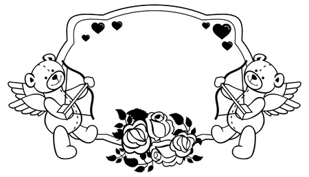 Oval label with outline roses and teddy bear with bow and wings, looks like a Cupid. Copy space. Vector clip art.