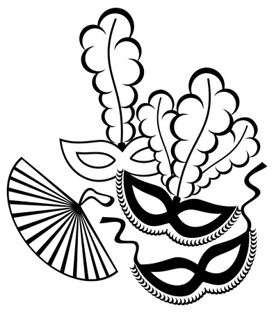 Black and white silhouette  frame with carnival masks. Copy space. Vector clip art. Illustration
