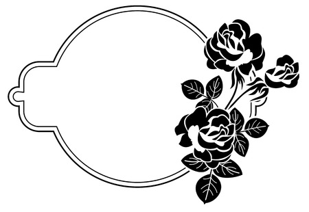 Black and white round frame with stylized roses silhouettes. Vector clip art. Illustration