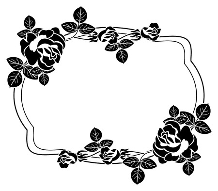 Black and white frame with stylized roses silhouettes. Vector clip art. Illustration