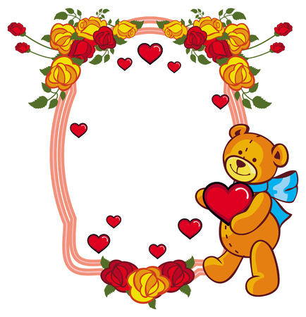 Oval label with red roses and cute teddy bear holding a big heart. Copy space. Raster clip art.