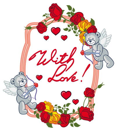 Oval frame with red roses, teddy bear, looks like a Cupid and written phrase With love!. Valentine Day background. Raster clip art. Stock Photo