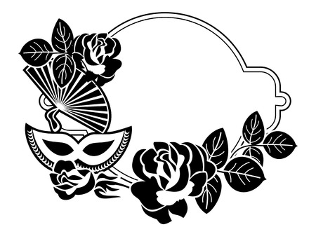 Silhouette round frame with carnival masks and roses. Copy space. Vector clip art.
