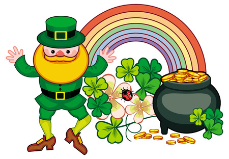 three day beard: Holiday label with shamrock, rainbow, leprechaun and a pot of gold. St. Patrick Day background. Copy space. Vector clip art.
