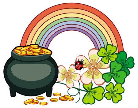 three day beard: Holiday label with shamrock, rainbow and leprechaun pot of gold. St. Patrick Day background. Copy space. Vector clip art.