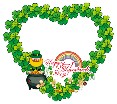 enano: Funny heart-shaped frame with shamrock and leprechaun. St. Patrick Day background. Copy space. Vector clip art. Vectores