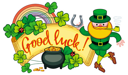 17 march: Holiday label with shamrock, rainbow, leprechaun and a pot of gold. St. Patrick Day background. Copy space. Vector clip art.
