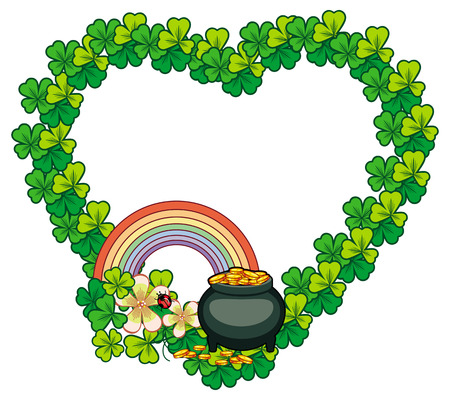 17: Funny heart-shaped frame with shamrock and leprechaun pot of gold. St. Patrick Day background. Copy space. Vector clip art.