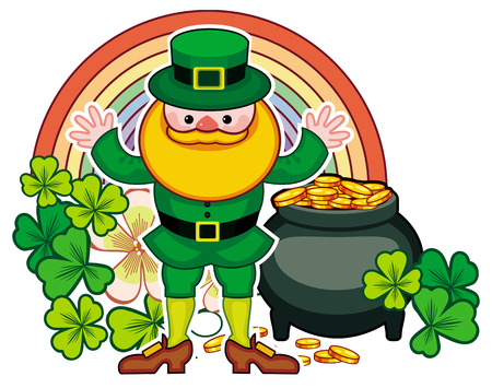 Holiday label with shamrock, rainbow, leprechaun and a pot of gold. St. Patrick Day background. Copy space. Vector clip art.