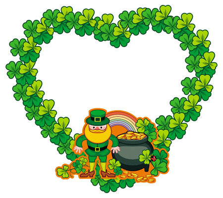 17: Funny heart-shaped frame with shamrock and leprechaun. St. Patrick Day background. Copy space. Vector clip art. Illustration
