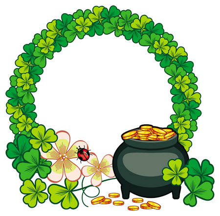 Round frame with shamrock and leprechaun pot of gold. St. Patrick Day background. Copy space. Vector clip art.
