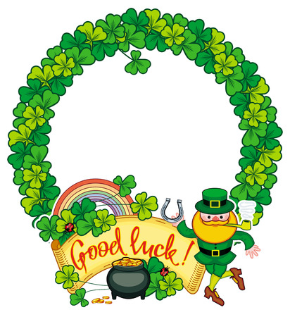 Round frame with shamrock, leprechaun and a pot of gold. St. Patrick Day background. Copy space. Vector clip art.