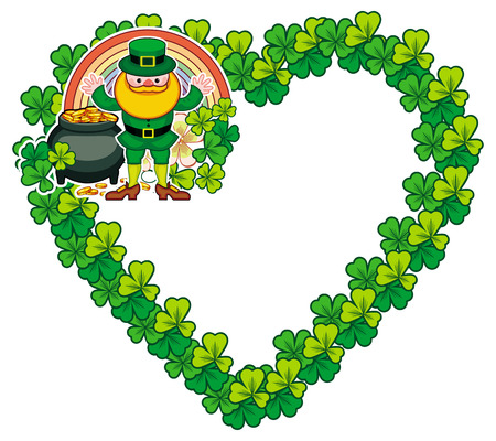 Funny heart-shaped frame with shamrock and leprechaun. St. Patrick Day background. Copy space. Vector clip art. Illustration