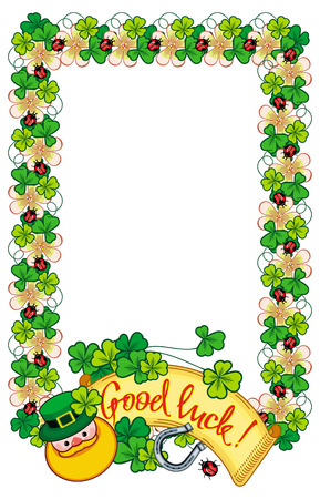 three day beard: Funny frame with shamrock, leprechaun and text Good luck!. St. Patrick Day background. Copy space. Vector clip art.
