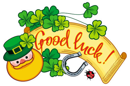 Funny label with shamrock, leprechaun and text Good luck!. St. Patrick Day background.  Vector clip art.