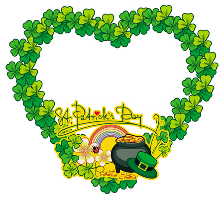 Funny heart-shaped frame with shamrock and leprechaun pot of gold. St. Patrick Day background. Copy space. Vector clip art.