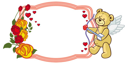 Color frame with roses and teddy bear with bow and wings, looks like a Cupid. Copy space. Raster clip art. Stock Photo
