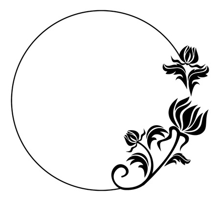 Black and white round frame with flowers silhouettes. Copy space.  Raster clip art.