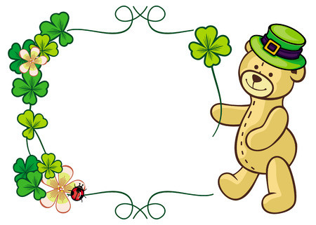 Clover frame and cute teddy bear in green hat. Copy space. Vector clip art. Illustration