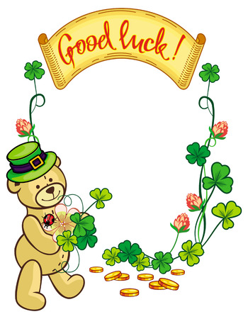 animal st  patricks day: Clover frame and cute teddy bear in green hat. Copy space. Vector clip art. Illustration