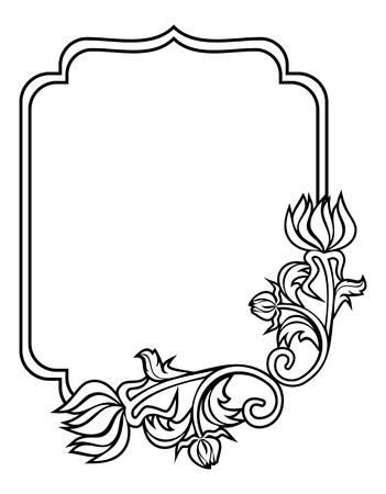Black and white frame with flowers silhouettes. Copy space.  Raster clip art.