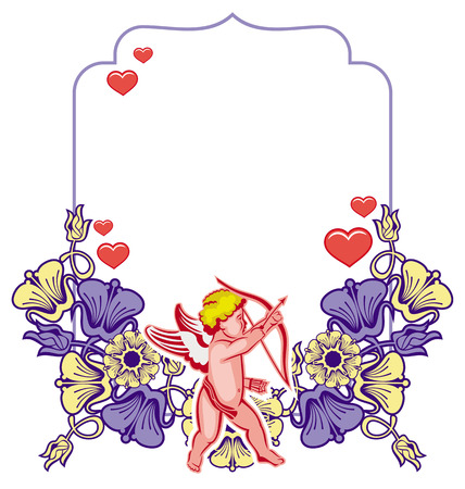 Elegant frame with Cupid, decorative flowers and hearts. Cupid with bow hunting for hearts. Design element for greeting cards and presents. Vector clip art.