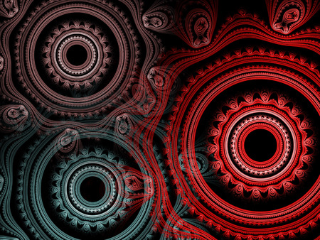 Fractal background with abstract circles.Design element for brochure, advertisements, flyer, web and other graphic designer works. Digital collage. Stock Photo