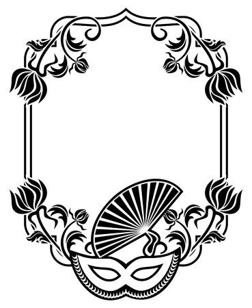 Schwarz-Weiß-Silhouette Rahmen Mit Karnevalsmasken Und Abstrakte ...