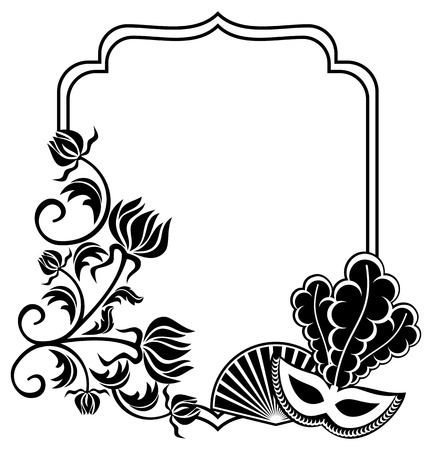 Black and white silhouette frame with carnival masks and abstract flowers. Copy space. Vector clip art.