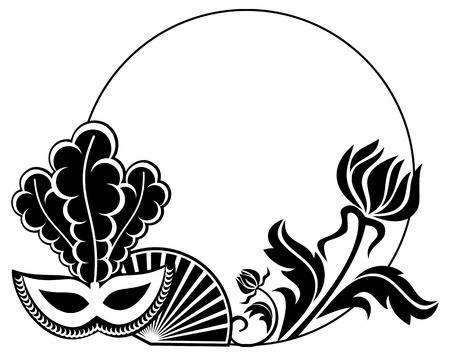 Round silhouette frame with carnival masks and abstract flowers. Copy space. Vector clip art.