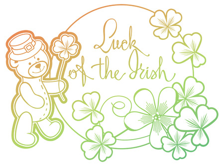 Contour color gradient frame with shamrock, teddy bear and artistic written text Luck of the Irish.  Raster clip art. Stock Photo