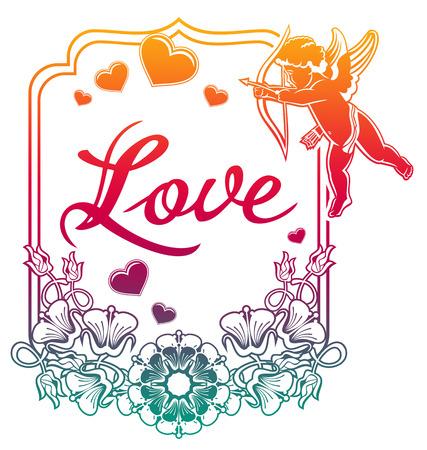 Amor Mit Bogenjagd Fur Herzen Farbverlauf Etikett Mit Amor Rosen