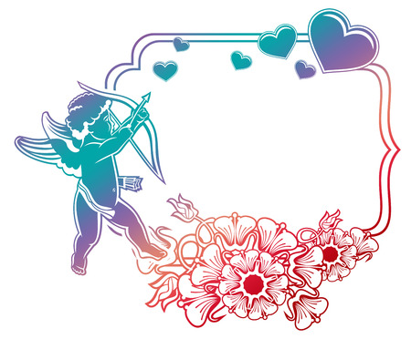 Cupid with bow hunting for hearts. Color gradient label with Cupid, roses, hearts and single word Love!. Valentine Day background. Raster clip art.