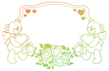 Oval gradient label with outline roses and cute teddy bear holding heart. Copy space. Valentine Day background. Raster clip art. Stock Photo