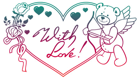 Gradient color heart-shaped frame with outline roses, teddy bear holding heart. Valentine Day background. Raster clip art.