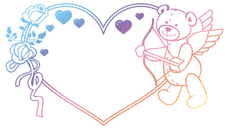 Gradient color heart-shaped label with outline roses and teddy bear with bow and wings, looks like a Cupid. Copy space. Raster clip art.