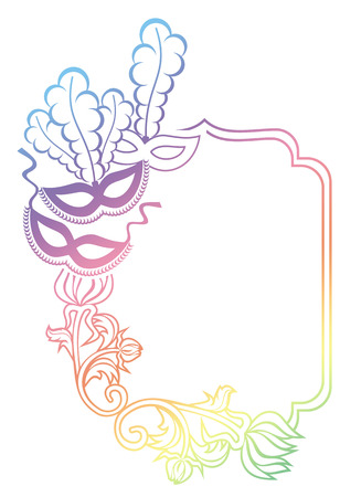 Color gradient frame with carnival masks. Copy space. Raster clip art.