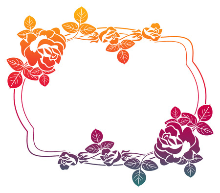 Gradient frame with roses. Color frame with roses for advertisements, wedding invitations or greeting cards. Raster clip art.