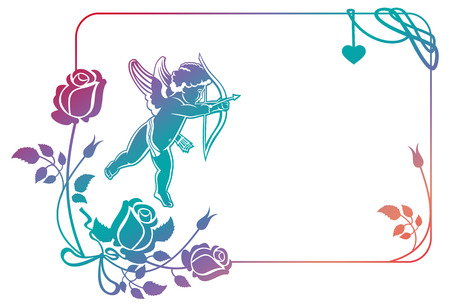 Cupid with bow hunting for hearts. Color gradient frame with Cupid, roses and hearts. Copy space. Raster clip art.