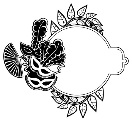 Black and white silhouette frame with carnival masks and abstract flowers. Copy space. Vector clip art. Illustration