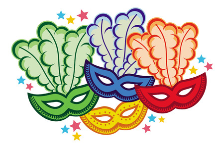 Color carnival masks. Copy space. Raster clip art.