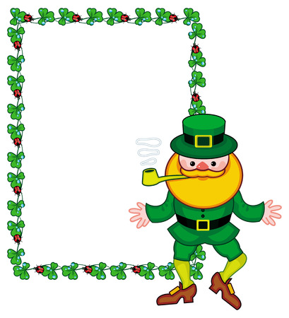 Frame with shamrock, leprechaun and a pot of gold. St. Patrick Day background. Copy space. Vector clip art.