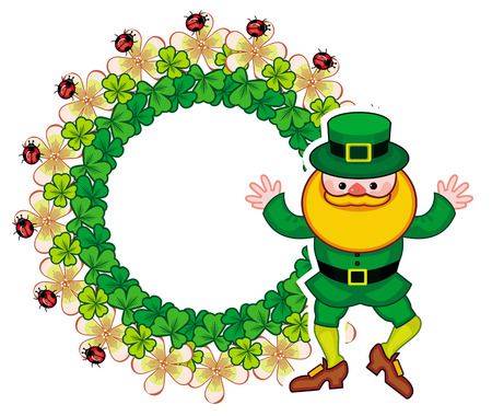 Round frame with shamrock and leprechaun. St. Patrick Day background. Copy space. Vector clip art.