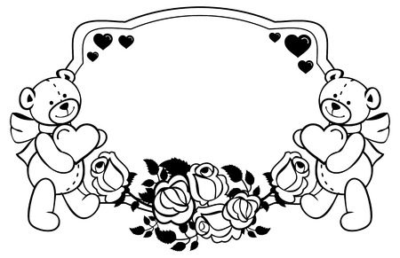 Oval label with outline roses and cute teddy bear holding heart. Copy space. Valentine Day background. Raster clip art.