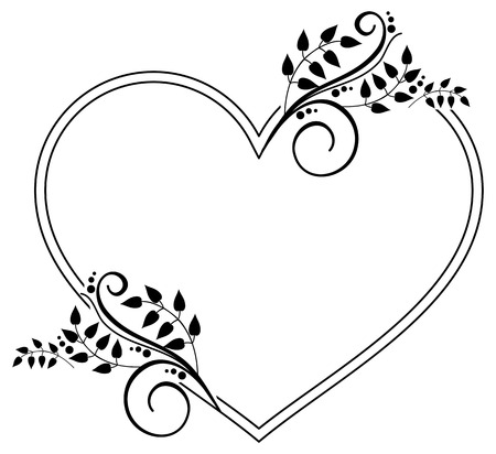 Heart-shaped black and white frame with floral silhouettes. Copy space. Vector clip art.