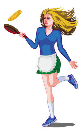 Young girl with long hair is cooking pancakes in a skillet. Shrove tuesday pancake race. Vector clip art. Ilustrace