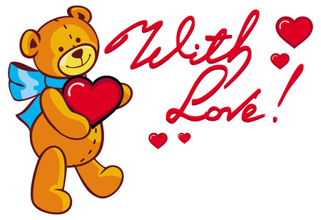 Artistic written text With love! and cute teddy bear holding red heart. Raster clip art. Stock Photo