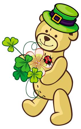 animal st  patricks day: Cute teddy bear in green hat and shamrock. Raster clip art.