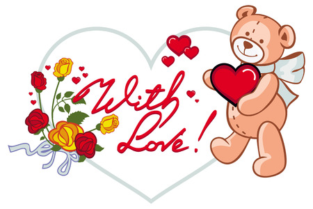 Oval Label With Red Roses And Cute Teddy Bear Holding A Big Heart ...